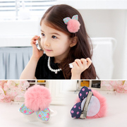 Know NI children in three-dimensional plush ball rabbit ears hair clip hairpin hair accessories baby hair clip bangs for girls clips