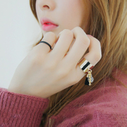 Korea people exaggerated ring fringed mash up combinations three personality temperament Joker simple joint ring rings