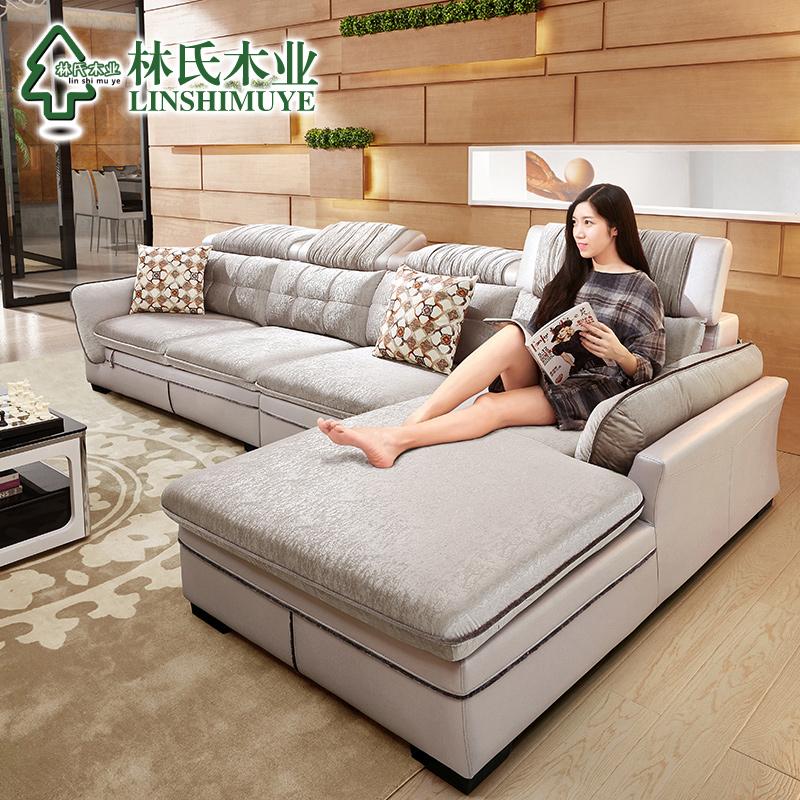 林氏木业布艺沙发现代简约大小户型客厅转角皮布沙发组合家具2040产品展示图3