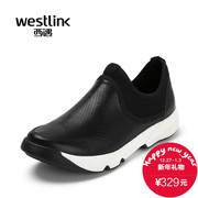 Westlink/West spring 2016 new perforated mesh leather foot thick-soled sports shoes