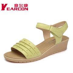 Women's YEARCON/er Kang's 2015 summer styles with Velcro ladies leather peep-toe sandal