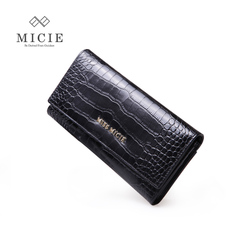 MICIE/beautiful city woman long bi-fold wallet purse leather crocodile pattern leather jacket large capacity in Europe and America the new 2015