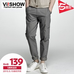 Viishow2015 spring men's casual pants straight leg plain wave Pocket stitching washed casual trousers tide