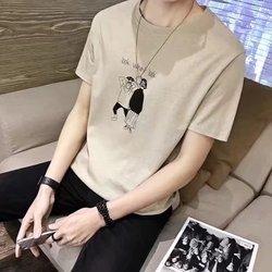 2018帅气短衫短衣服男士短袖t恤丅桖夏季纯棉半截半袖男衫体桖