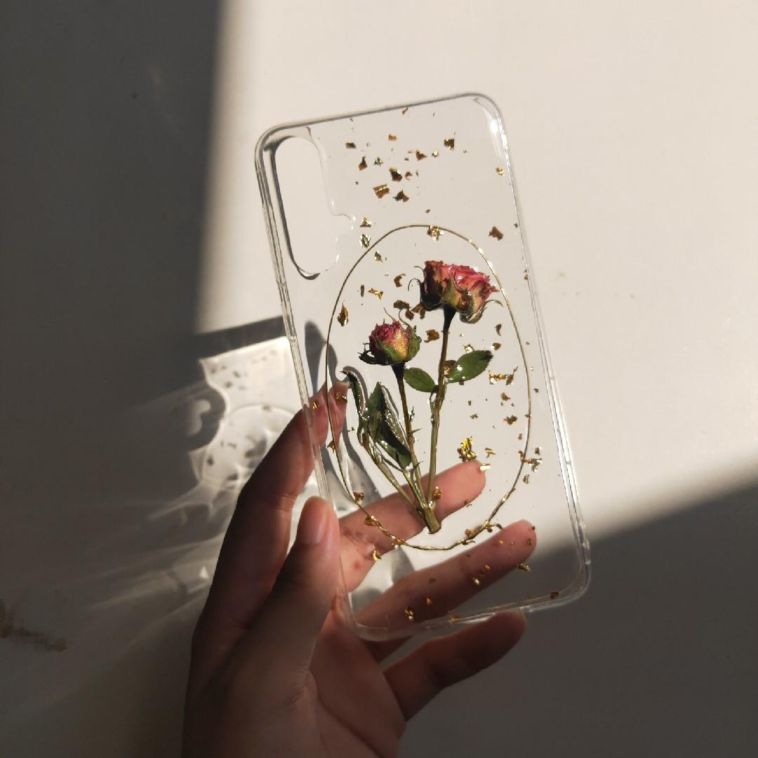 干花真花手机壳复古水晶滴胶成品diy定制型号oppo华为vivo iPhone