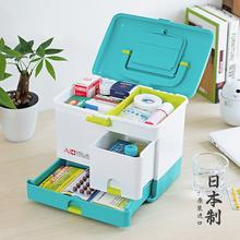 日本家用ku1容量医药an容量药品收纳急救箱便携家庭医疗箱子
