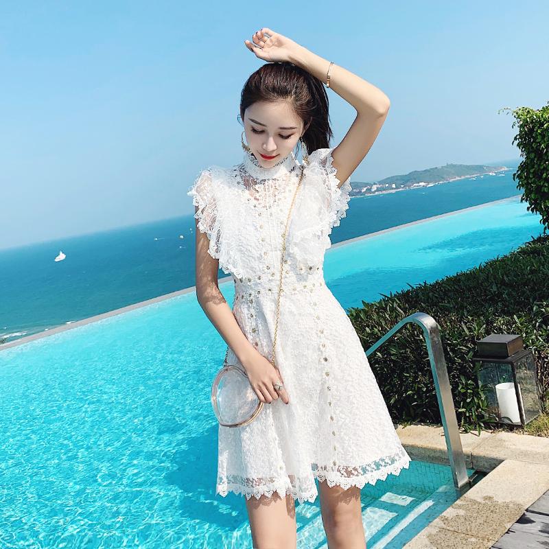 小清新甜美很仙的小个子法国复古山本小香风白色连衣裙子夏超仙女
