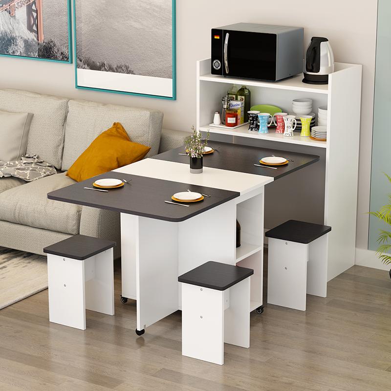 折叠餐桌长方形家用多功能小户型可移动伸缩吃饭桌子餐边柜组合