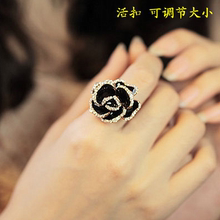 女日韩款la1尚简约个ll的气质钻玫瑰花朵开口夸张食指戒指环