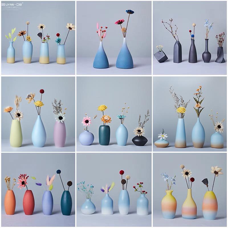 北欧现代小清新陶瓷小花瓶创意干花插花器客厅餐桌家居装饰品摆件