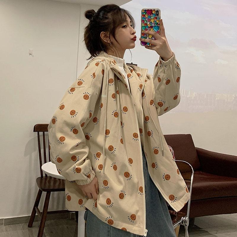 实拍港风盐系外套2020年新款卫衣女春秋韩版学生森系宽松小个子潮 -