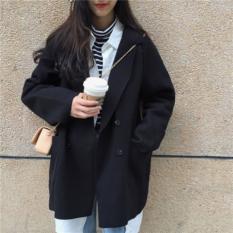 秋冬季新款韩版学生宽松大码显瘦呢子大衣女原宿风毛呢外套女上衣