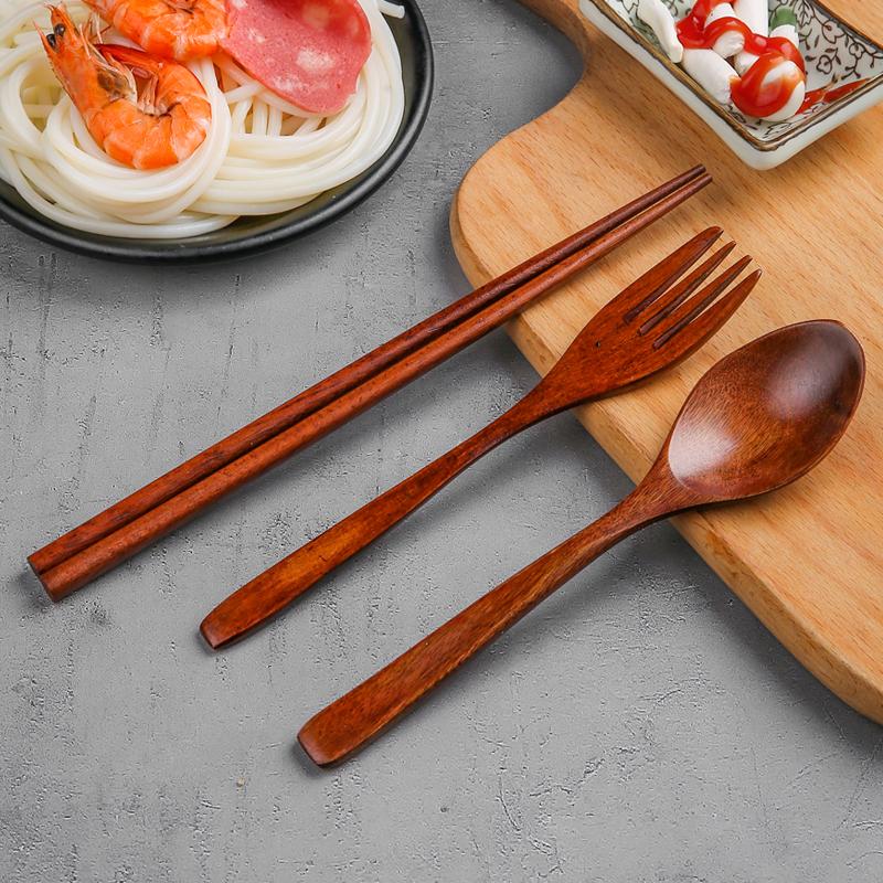 便携式筷子勺子套装木质餐具三件套学生叉子勺子实木快子家用