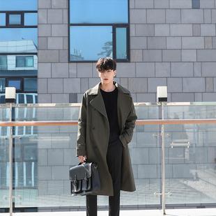 2018秋季新款风衣中长款男士青少年韩版帅气外套薄款修身大衣潮牌