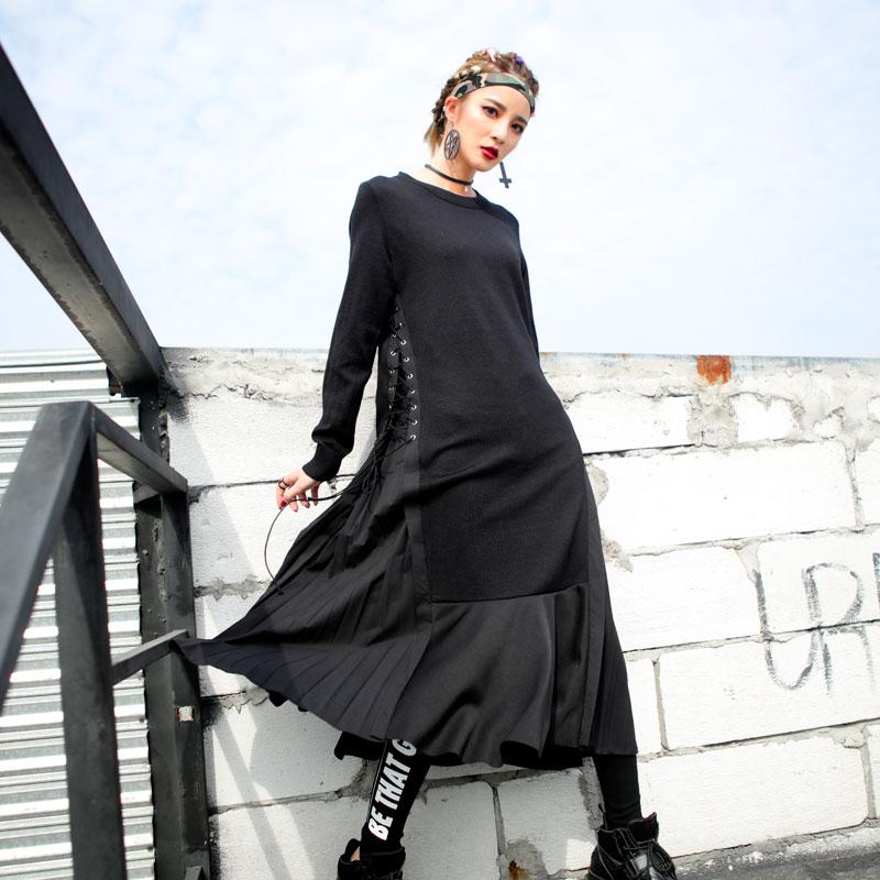 2018春季暗黑系侧面绑带设计显瘦打底 针织拼接梭织长款连衣裙女
