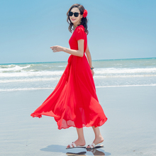 夏季雪纺连衣裙海边度假xh8裙海南三jw妈减龄红色短袖沙滩裙