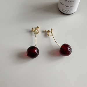New year blogger with the same cherries year flavor antique earrings long temperament no pierced ear clip cherry earrings female