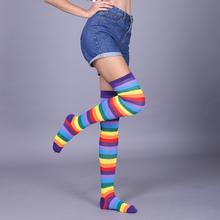 2018彩虹条纹长筒袜子过膝女in12OSPze美腿袜5双包邮