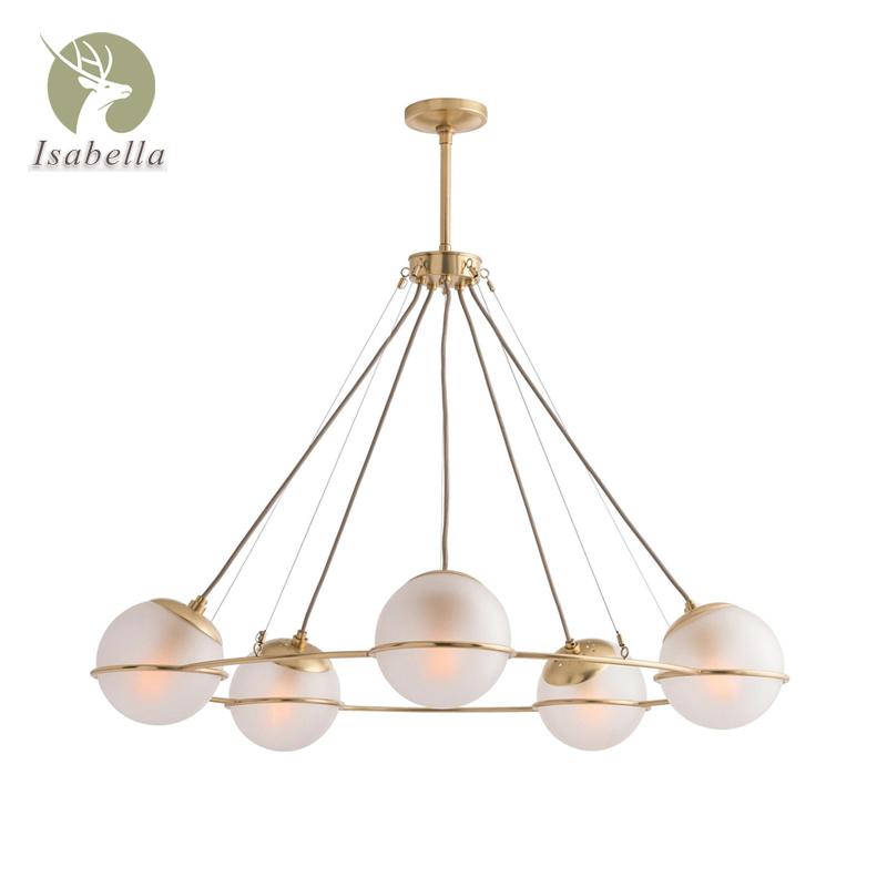 后现代美式小户型客厅吊灯 北欧卧室餐厅工作室简约玻璃全铜吊灯-伊莎贝拉铜灯