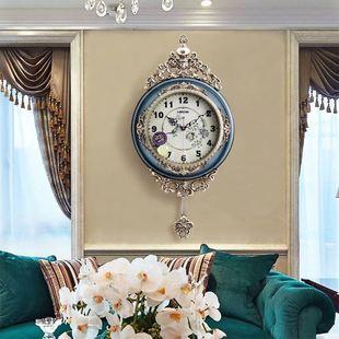欧式轻奢挂钟客厅卧室时尚复古钟表创意家用时钟美式艺术静音挂表