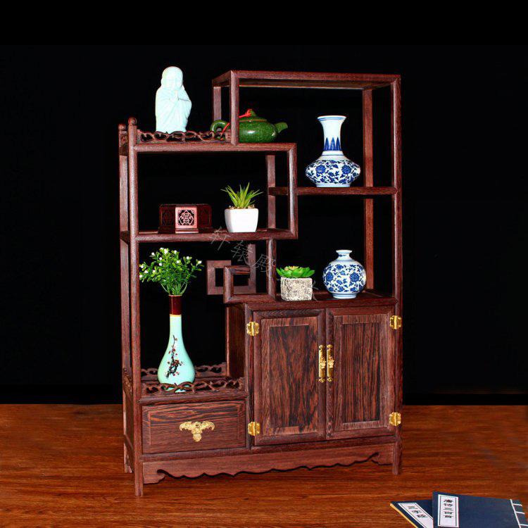 鸡翅木小博古架实木中式隔断柜红木多宝阁古董架置物架茶叶收纳柜