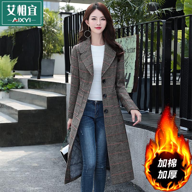 2017冬新款格子呢子大衣韩版加棉加厚收腰中长款千鸟格毛呢外套女
