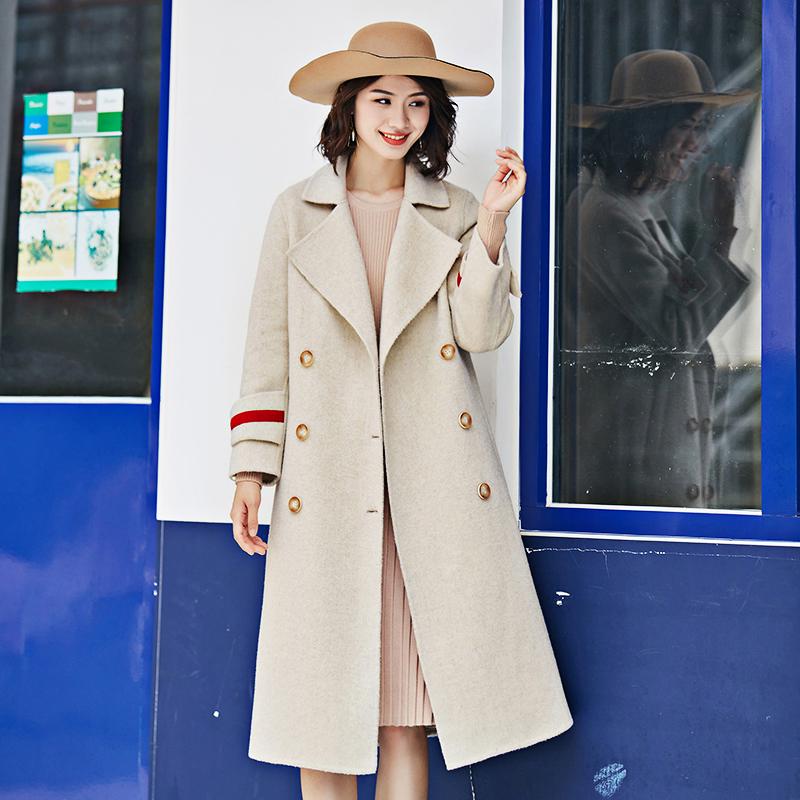 双面呢大衣女中长款收腰显瘦2019新款羊毛尼子修身外套女过膝加厚