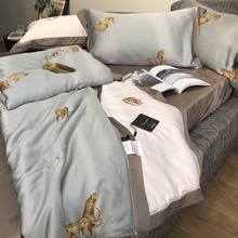 High end summer quilt set of four Tencel bedding set80 fashion brands fan Tiansi summer machine wash