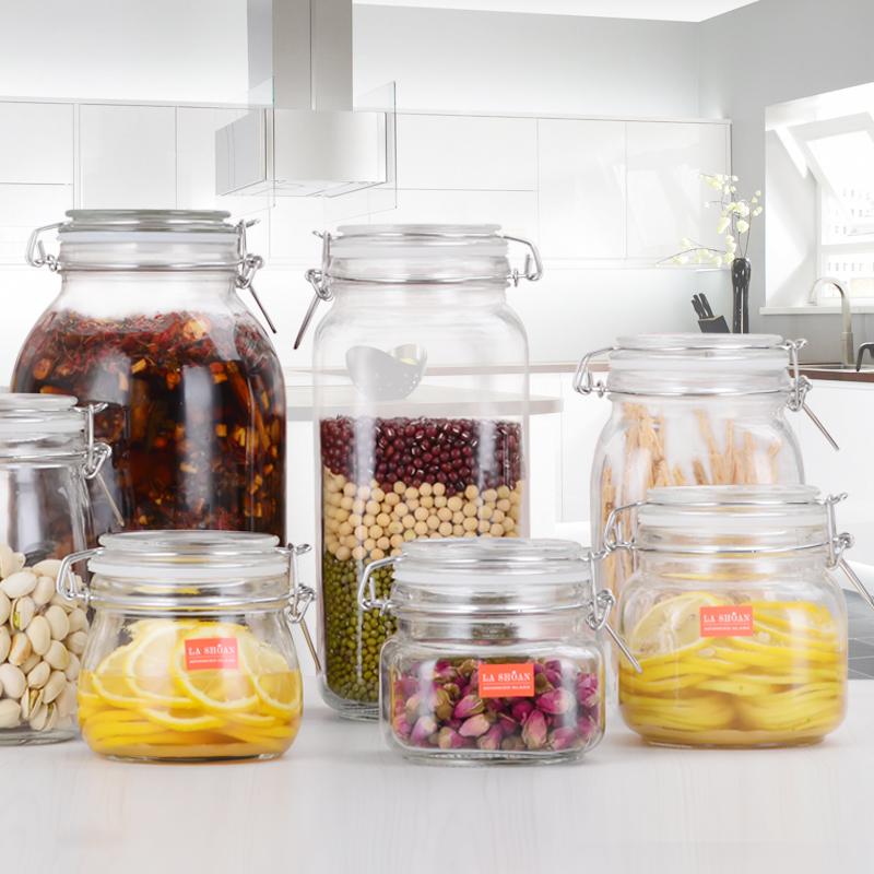 楼尚玻璃密封罐柠檬蜂蜜罐子食品级家用腌制储物杂粮收纳盒带盖瓶