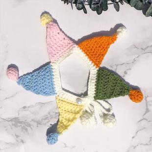 猫咪项圈毛线手工编织DIY可爱小丑项链配饰宠物英短布偶美短围脖