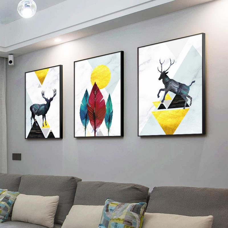 客厅装饰画沙发背景墙面北欧现代简约三联画餐厅壁画抽象鹿轻奢挂