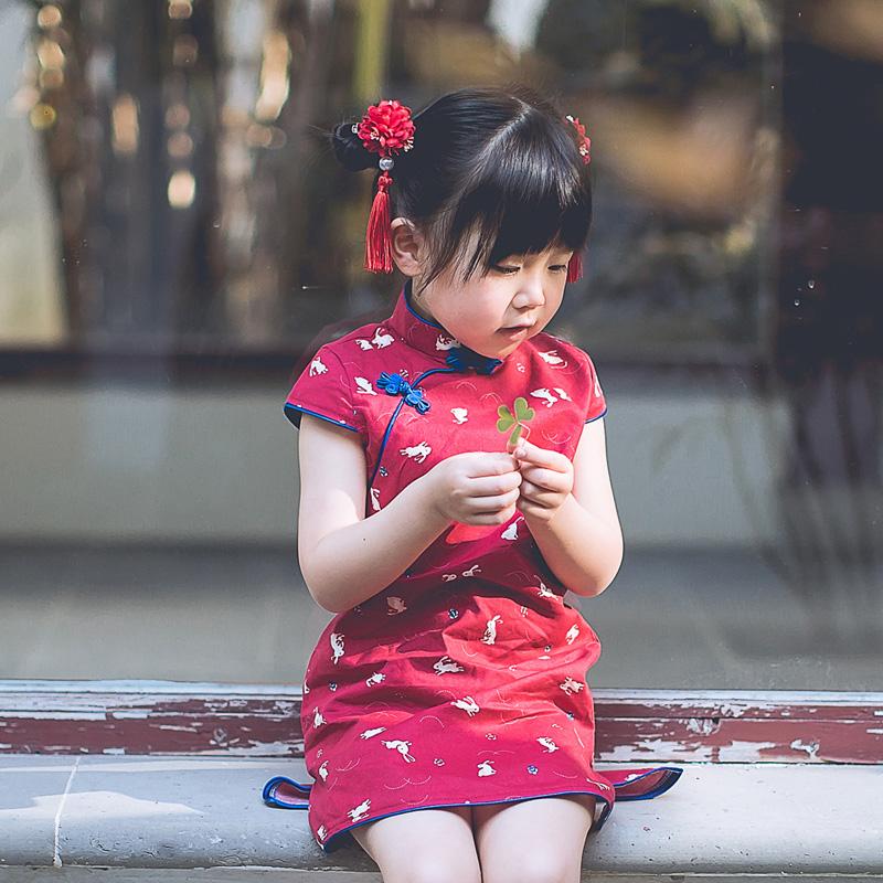 女童旗袍2018新款夏季宝宝唐装儿童旗袍连衣裙汉服中国风童装春秋
