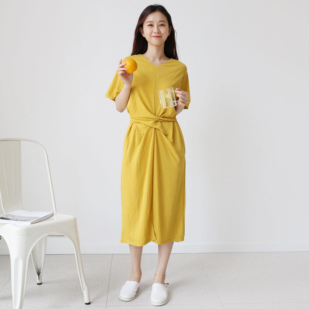 三木 设计 纯色 领收 系带 连衣裙 短袖 裙子 夏季 新款