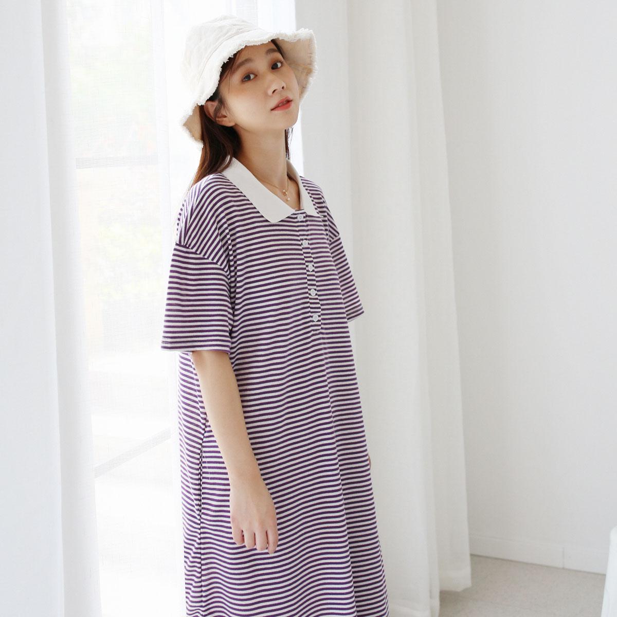 三木社/条纹POLO领衬衫裙中长款短袖裙子夏季新品连衣裙日系文艺