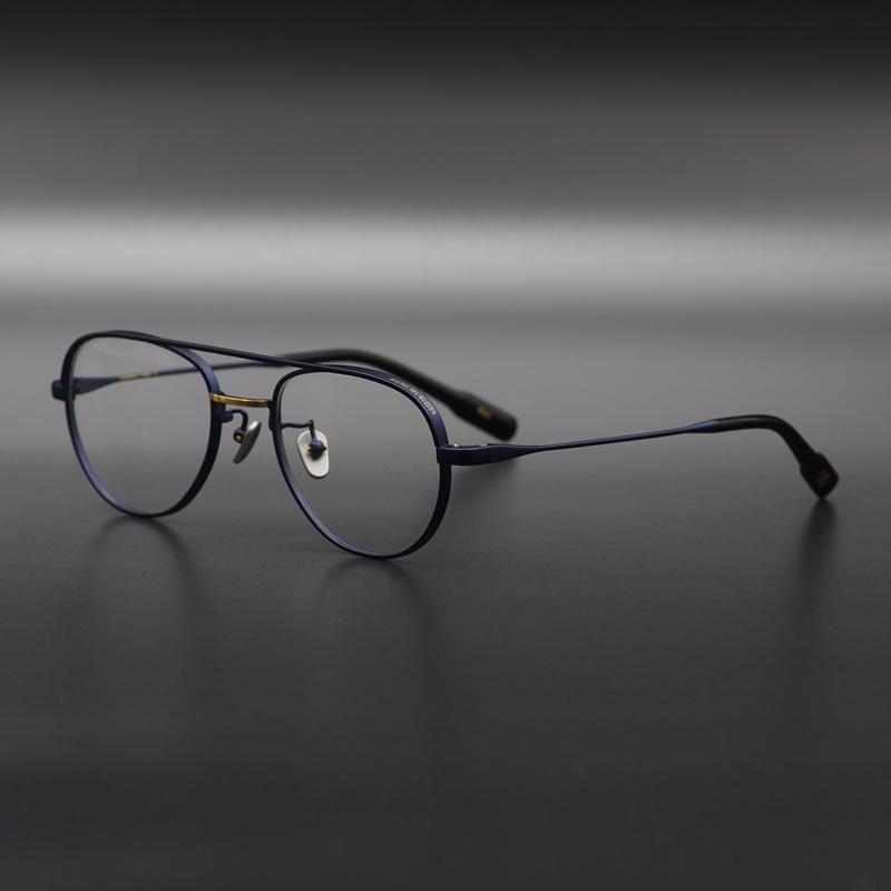 私藏!手工造旧飞行员式纯钛眼镜框男女情侣复古款 亚光磨砂镜架图片
