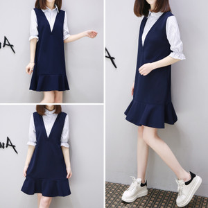 European station summer new pregnant women shirt A word skirt fake two pieces OL business interview professional wear fi
