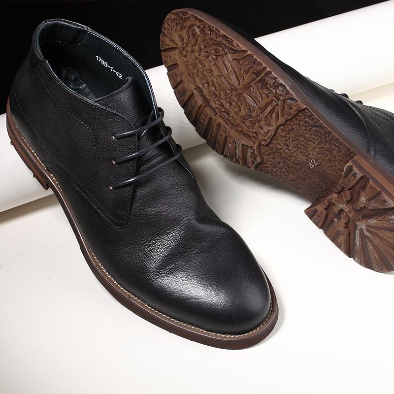新品日系潮流复古真皮高帮皮鞋街头百搭褶皱做旧短靴男英伦马丁靴