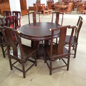 Residential rosewood furniture round dining table rosewood pineapple lattice solid wood new Chinese living room dining table and chair combination