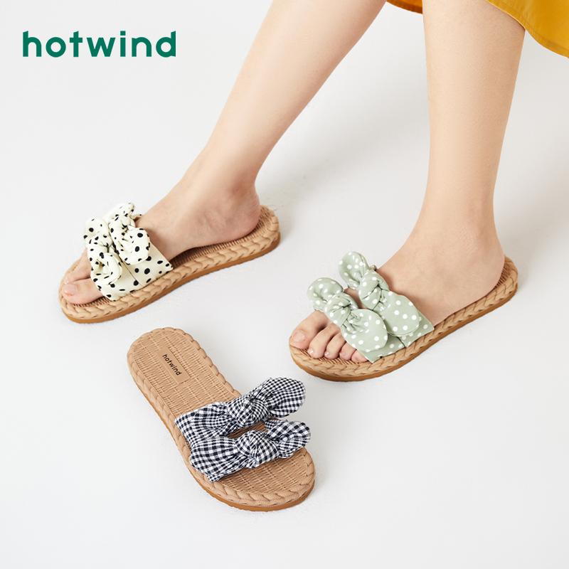 热风2020年夏季新款小清新女士拖鞋外穿蝴蝶结一字拖H62W0621