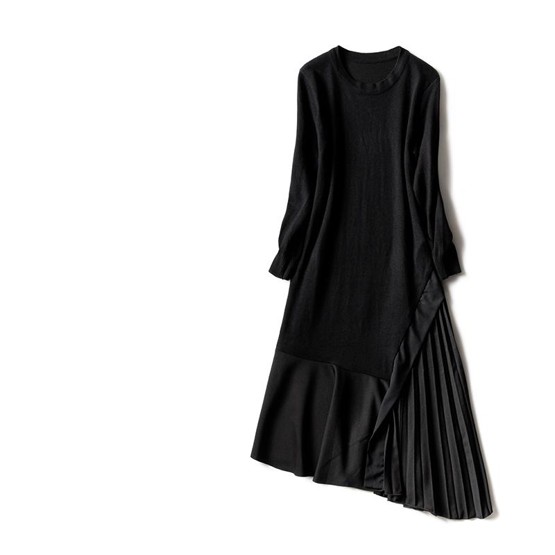 废墟[A7102]2017秋冬 东京暗黑 混纺羊毛拼接长款纯色长袖连衣裙