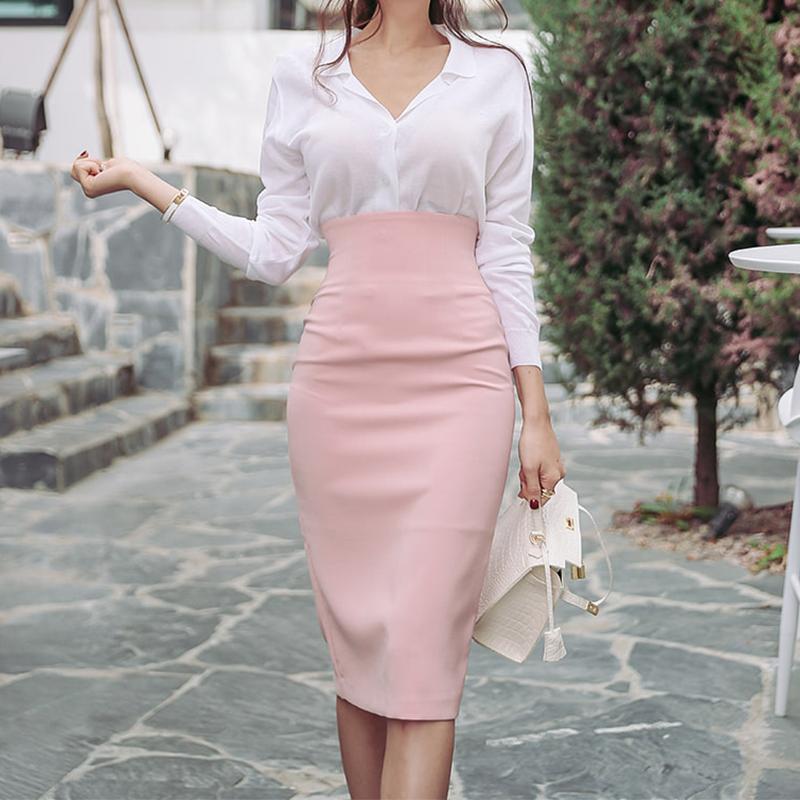 2020春季新款韩版修身包臀过膝粉色半身裙高腰显瘦中长职业一步裙