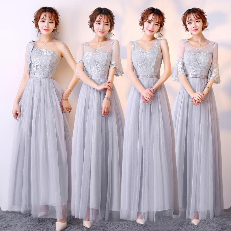 伴娘服2017新款韩版长款伴娘礼服姐妹团显瘦晚礼服结婚小礼服女裙