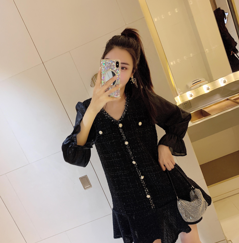 连衣裙2020秋季新款法式小香风轻奢显瘦气质鱼尾裙 -