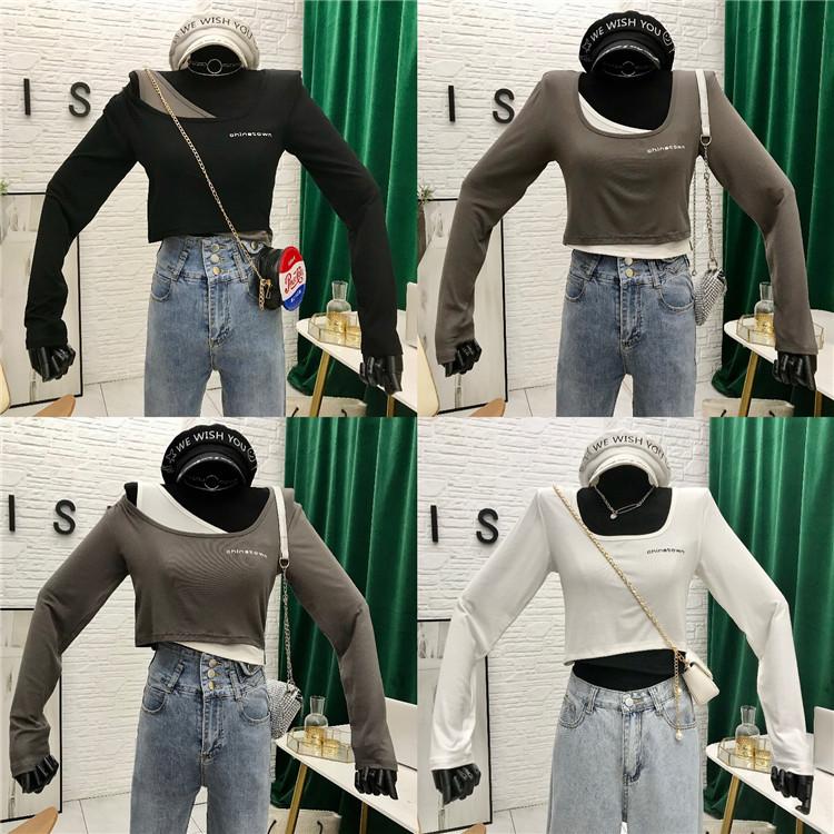 秋季韩版短款上衣女2020新款港风宽松露脐长袖小众假两件T恤ins女 -