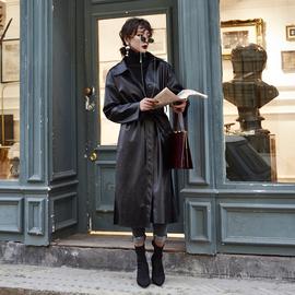 2020春秋季女装新款装外套机车皮衣女长款过膝帅气宽松pu皮风衣女
