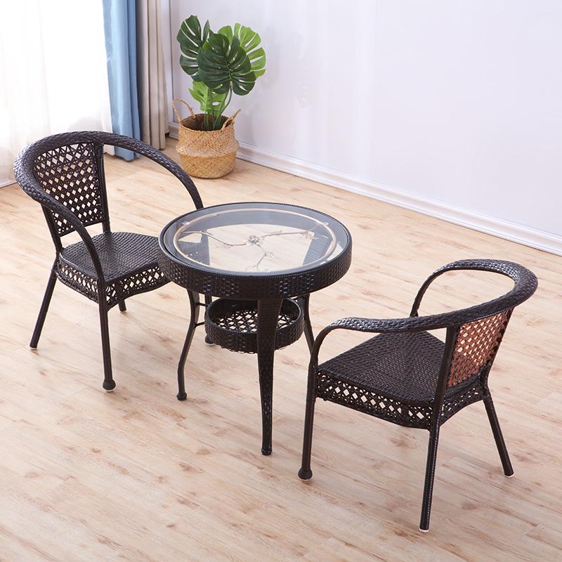 喝茶桌椅组合简约现代阳台桌子茶几休闲家用藤编织钢化玻璃小圆桌