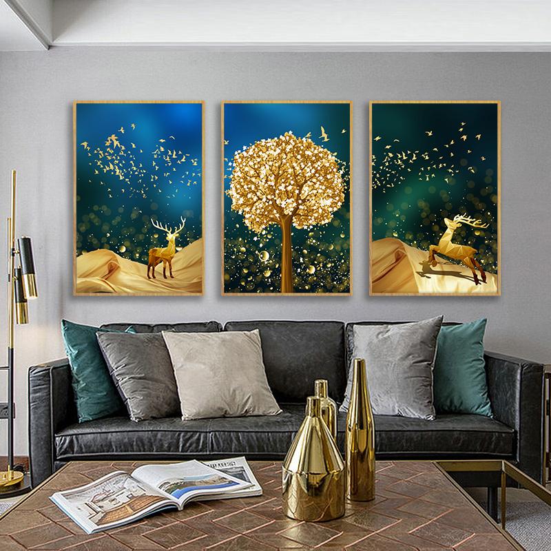 现代简约客厅装饰画北欧风格麋鹿沙发背景墙壁画卧室餐厅三联挂画