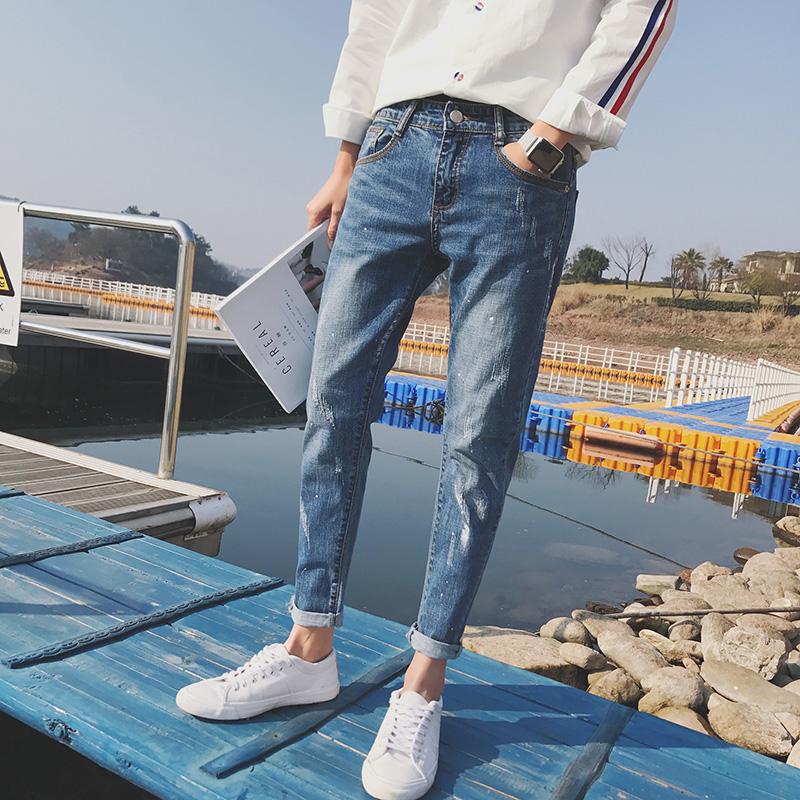 潮牌牛仔裤破洞春夏款青少年男士韩版修身小脚弹力韩版潮流九分裤
