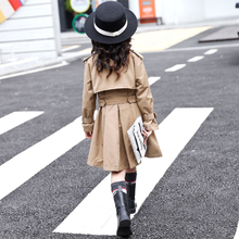 女童风衣2hn221新式rt洋气秋装童装宝宝中大童中长式秋季外套