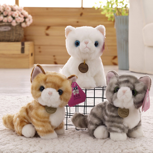 Genuine Cute Cat Plush Toy Simulation Sound Meow White Cat Doll Ragdoll Kitten Child Gift
